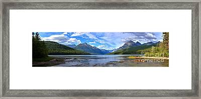 Glacier Bowman Lake Panorama Framed Print by Adam Jewell