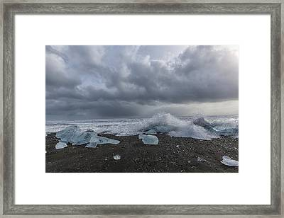 Framed Print featuring the tapestry - textile Glacier Ice 2 by Kathy Adams Clark