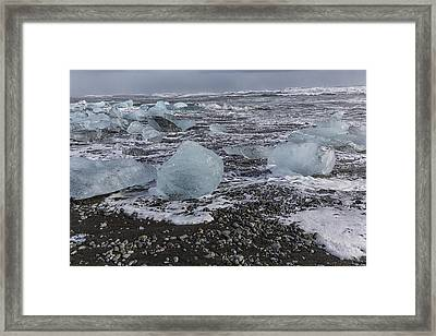 Framed Print featuring the tapestry - textile Glacier Ice 3 by Kathy Adams Clark