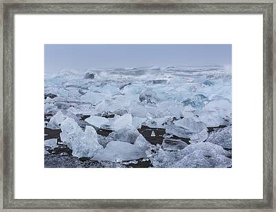Framed Print featuring the tapestry - textile Glacier Ice by Kathy Adams Clark