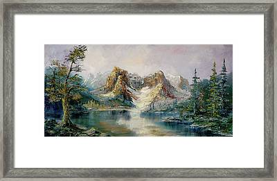 Framed Print featuring the painting Glacier Lake by Rebecca Kimbel