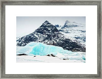 Framed Print featuring the photograph Glacier Landscape Iceland Blue Black White by Matthias Hauser