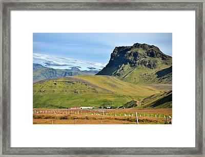 Glacier Mountains Meadows Farm Framed Print by David Halperin