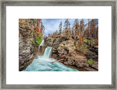 Glacier National Park Chilly Waterfall Framed Print by Andres Leon