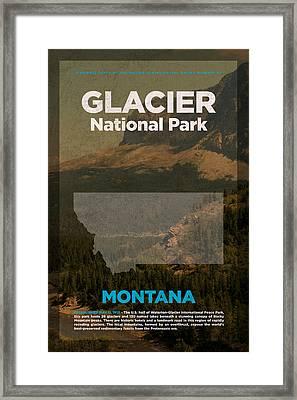 Glacier National Park In Montana Travel Poster Series Of National Parks Number 21 Framed Print