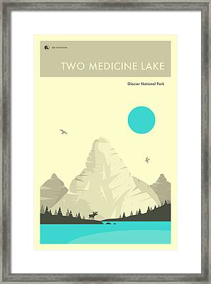 Glacier National Park Poster - Two Medicine Lake Framed Print by Jazzberry Blue