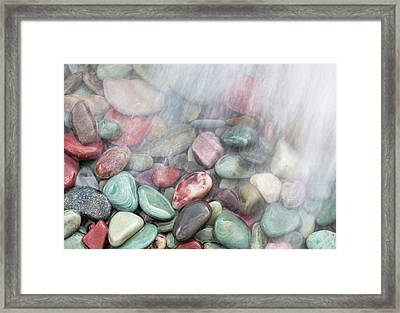 Glacier National Park Saint Mary's Lake Colored Stones Framed Print by Mark VanDyke