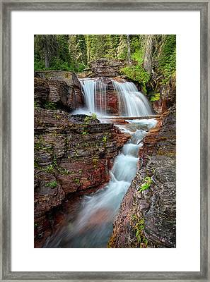 Glacier National Park Waterfall 2 Framed Print by Andres Leon