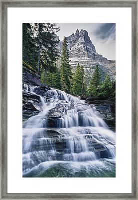 Glacier National Park Waterfall Framed Print by Donald Schwartz
