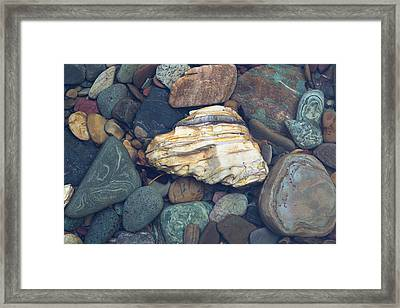 Glacier Park Creek Stones Submerged Framed Print