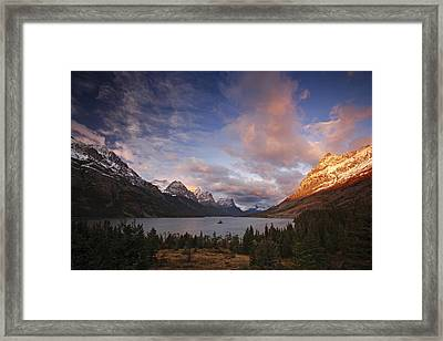 Glaciers Surround Saint Mary Lake Framed Print by Michael Melford