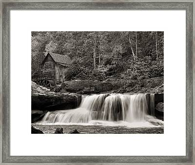 Glade Creek Grist Mill Monochrome Framed Print