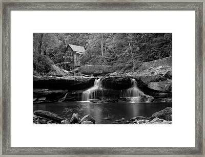Glade Creek Grist Mill - Cooper's Mill Bw Framed Print by Gregory Ballos