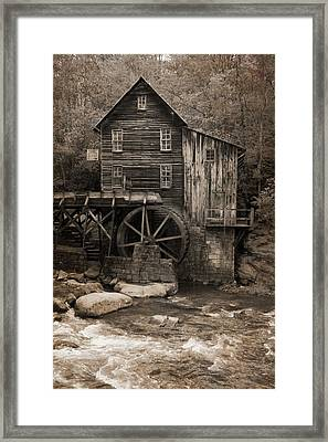 Glade Creek Grist Mill Sepia Framed Print by Dan Sproul