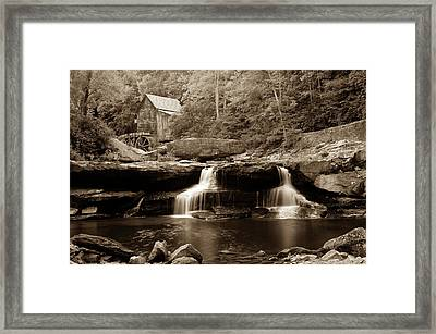 Glade Creek Grist Mill - West Virginia - Sepia Framed Print