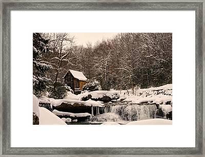 Glade Creek Grist Mill Winter Framed Print