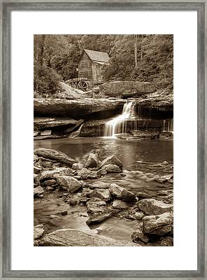 Glade Creek Mill - Babcock State Park - West Virginia - Sepia Framed Print