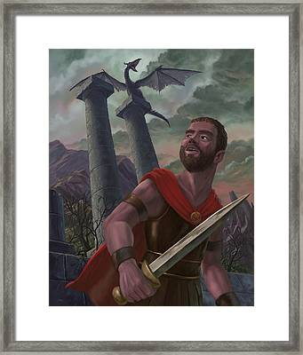 Gladiator Warrior With Monster On Pillar Framed Print by Martin Davey
