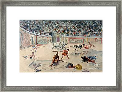 Gladiators Fighting Animals In The Circus At Pompeii Framed Print by Antonio Niccolini