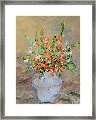 Framed Print featuring the painting Gladiolas by Judith Rhue
