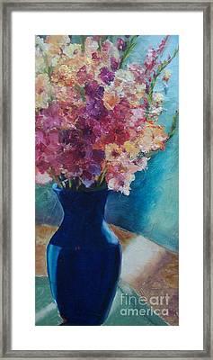 Gladioli-blue Framed Print