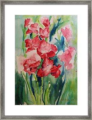 Gladioli Still Life Framed Print by Geeta Biswas