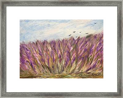Framed Print featuring the painting Gladiolus Field by Norma Duch