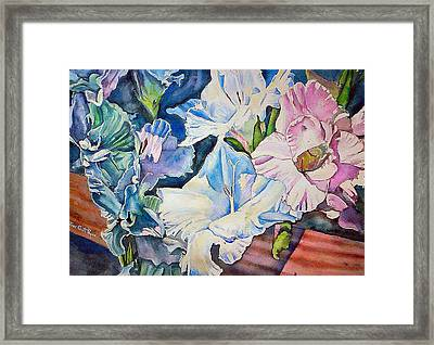 Glads On The Deck Framed Print by June Conte  Pryor
