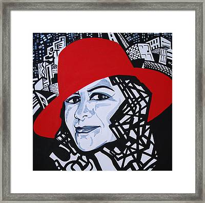 Glafira Rosales In The Red Hat Framed Print by Yelena Tylkina
