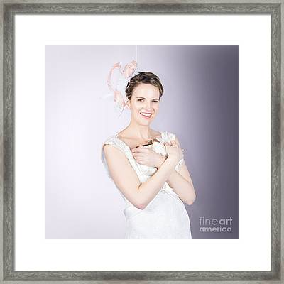Glamorous Bride With Beautiful Bridal Accessories Framed Print