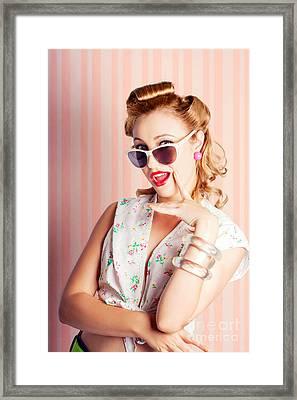 Glamorous Retro Blonde Girl Thinking Fashion Ideas Framed Print