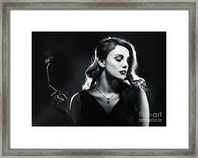 Glamorous Woman Smoking Framed Print by Amanda Elwell