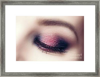 Glamour Makeup And Perfect Eyebrow Close-up. Framed Print