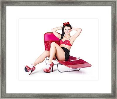Glamour Pin-up Girl. Retro Summer Fashion Framed Print