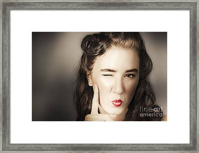 Glamour Pin Up Woman With Make-up Idea Framed Print