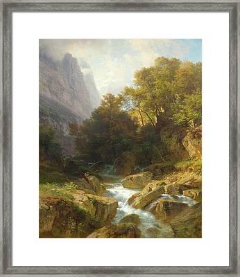 Glarn Mountain Landscape With A Stream Framed Print