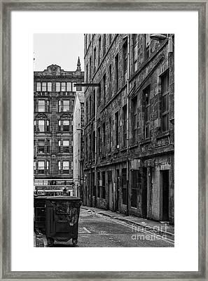 Glasgow Backstreet Monochromatic Framed Print by Antony McAulay