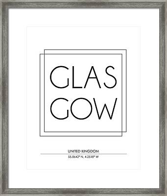 Glasgow City Print With Coordinates Framed Print
