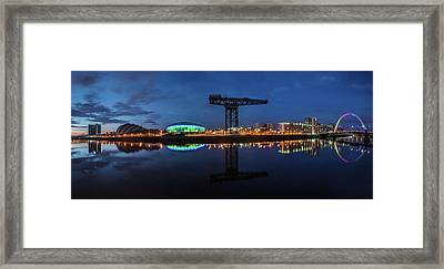 Glasgow Night Panorama Framed Print
