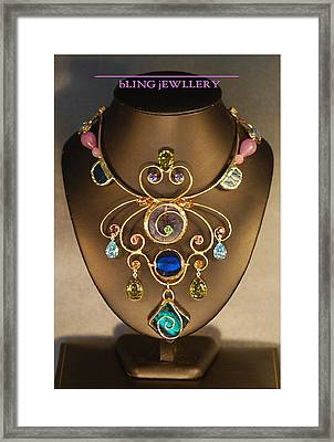 Glass And Crystal Butterfly Art Necklace Framed Print by Janine Antulov