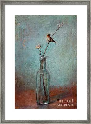 Glass Bottle And Hummingbird Framed Print