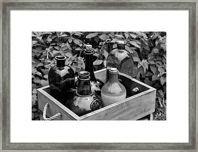 Glass Bottles In The Garden Framed Print