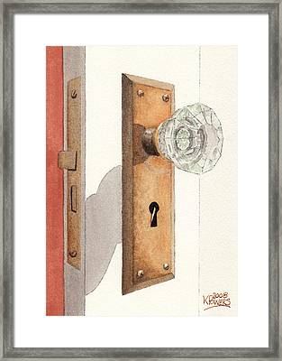 Glass Door Knob And Passage Lock Revisited Framed Print by Ken Powers