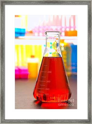 Glass Equipment In Science Lab Framed Print by Olivier Le Queinec