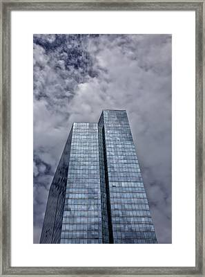 Glass High Rise And Clouds Framed Print by Robert Ullmann