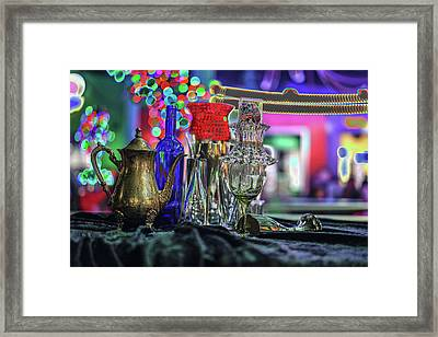 Glass In The Frame Of Colorful Hearts Framed Print