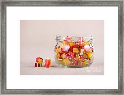 Glass Jar Full Of Tutti-frutti Sugar Candies  Framed Print by Arletta Cwalina