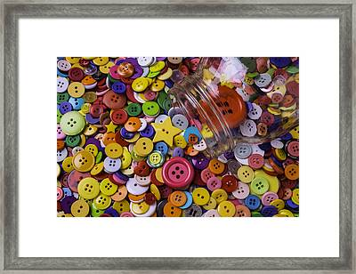 Glass Jar With Buttons Framed Print by Garry Gay