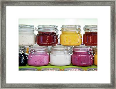 Glass Jars With Colorful Jams 1 Framed Print by Jenny Rainbow