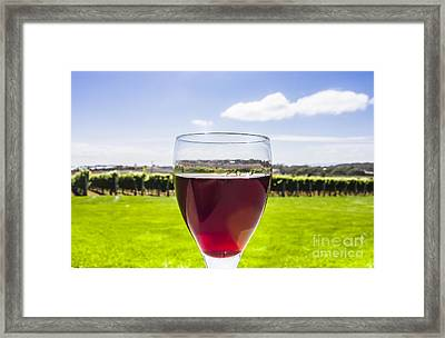 Glass Of Red Merlot Wine. Wineries And Vineyards Framed Print